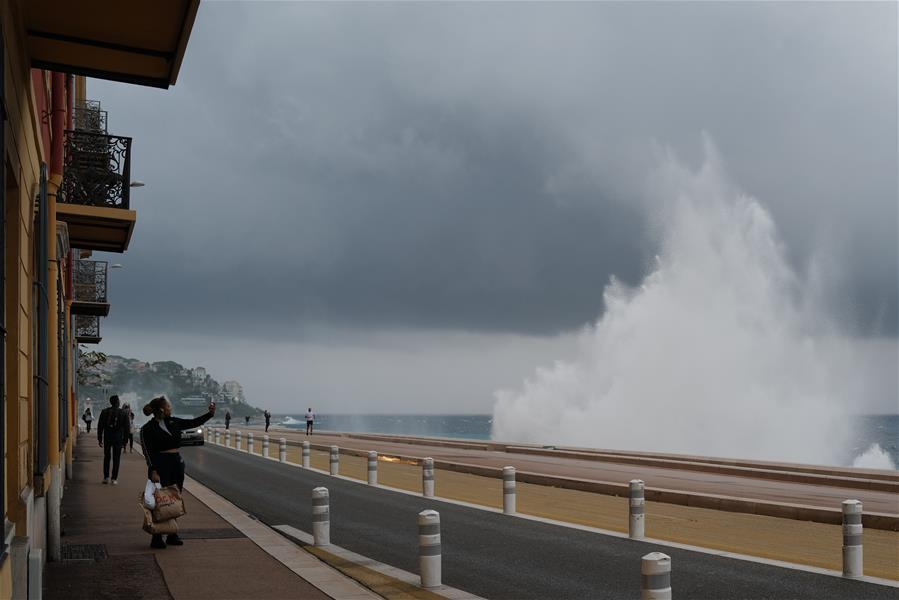 Waves hit shore as storm Alex reaches French riviera's coasts