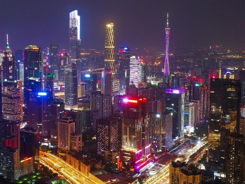 Night view of Guangzhou, capital of south China's Guangdong Province