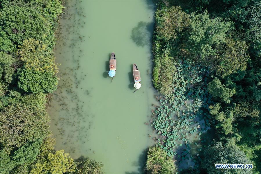 Aerial view of Xixi National Wetland Park in Hangzhou