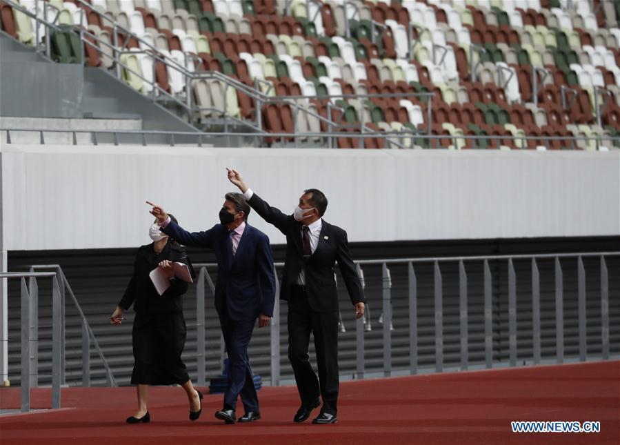 World Athletics President Sebastian Coe visits Tokyo 2020 main stadium