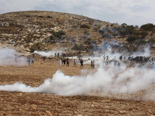 Palestinian protesters clash with Israeli soldiers in West Bank village of Beit Dajan