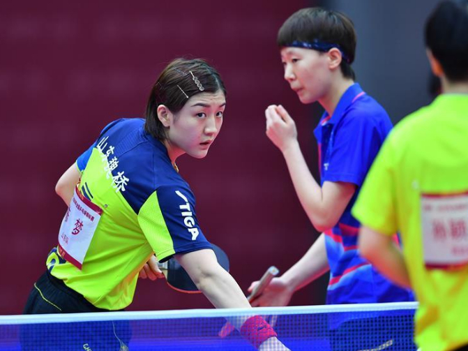 Women's doubles final match at Chinese National Table Tennis Championships