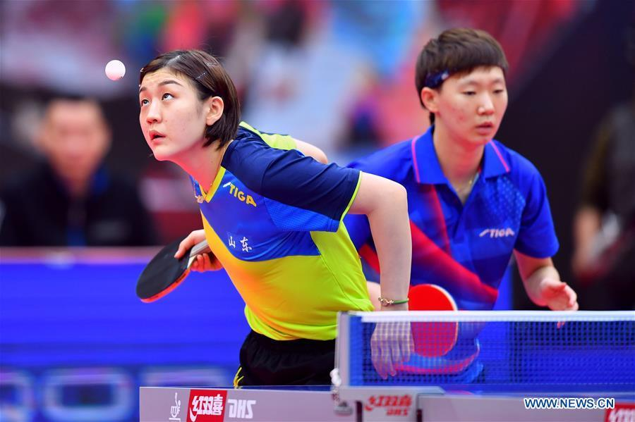 In pics: women's doubles semifinal match at Chinese National Table Tennis Championships