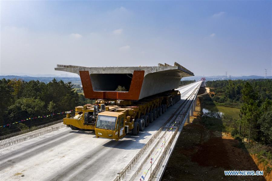 In pics: construction site of Baquhe super major bridge along Changde-Yiyang-Changsha railway