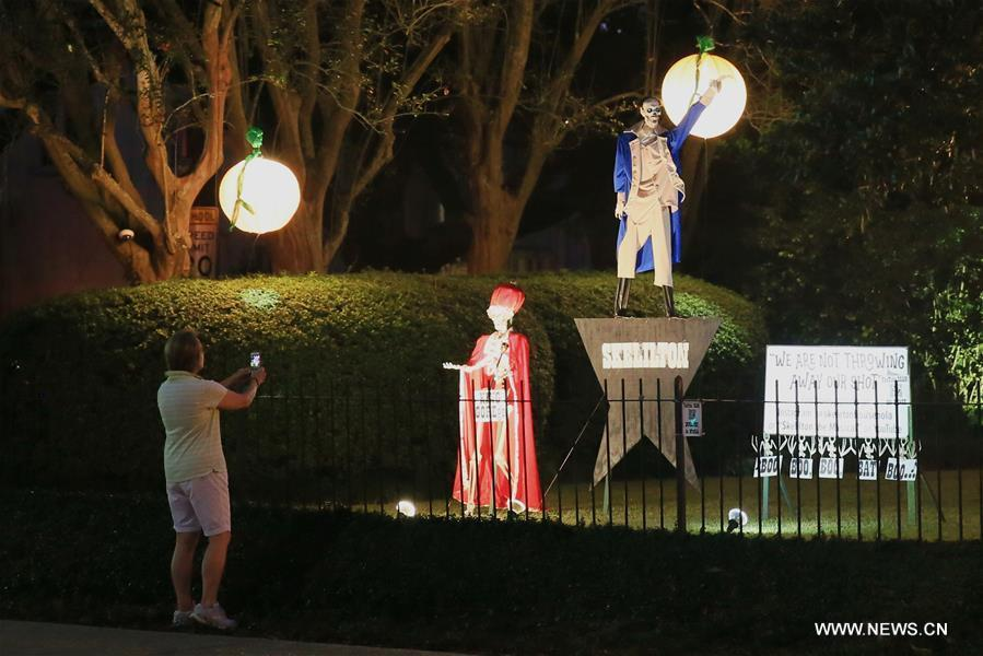 People start to decorate houses for Halloween in New Orleans, U.S.