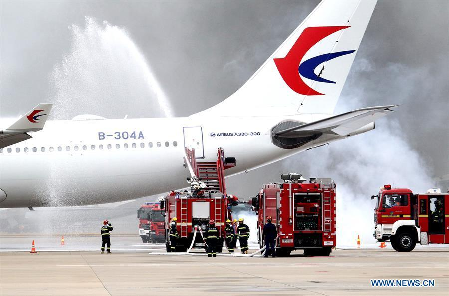 Emergency drill held at Pudong International Airport in Shanghai