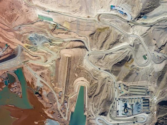 Dashixia Water Control Project under construction in Xinjiang