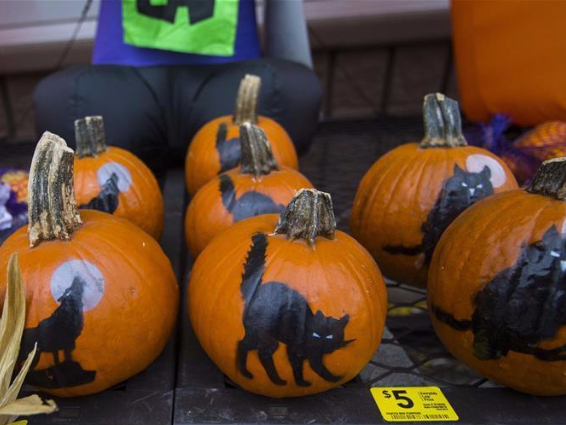 People shop for decorations for upcoming Halloween in Ontario, Canada