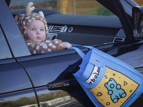 Drive-thru Trick or Treat event held at Pacific National Exhibition in Vancouver