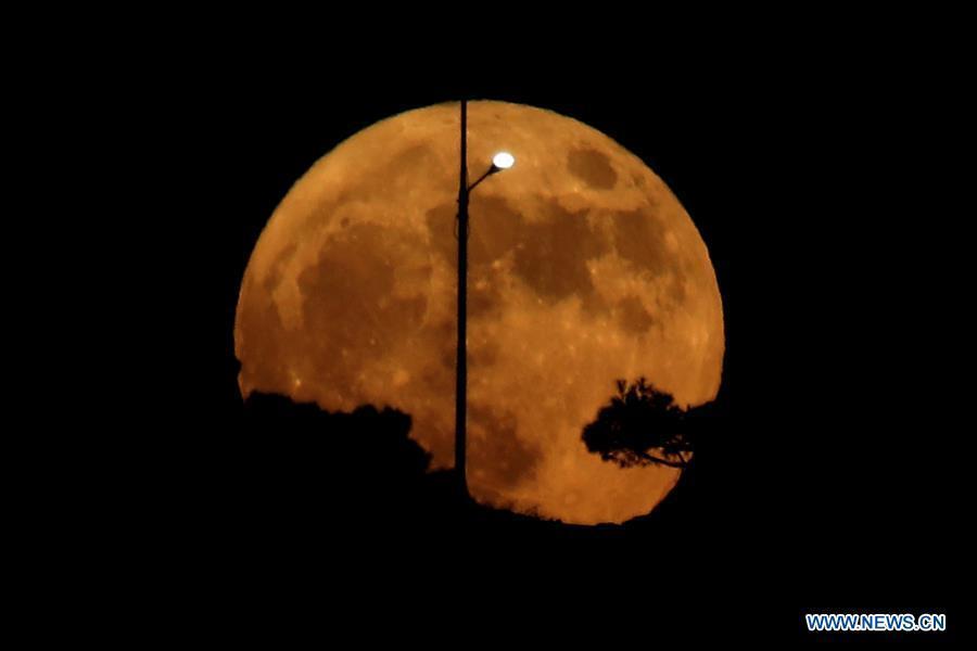 Full moon seen in Amman, Jordan