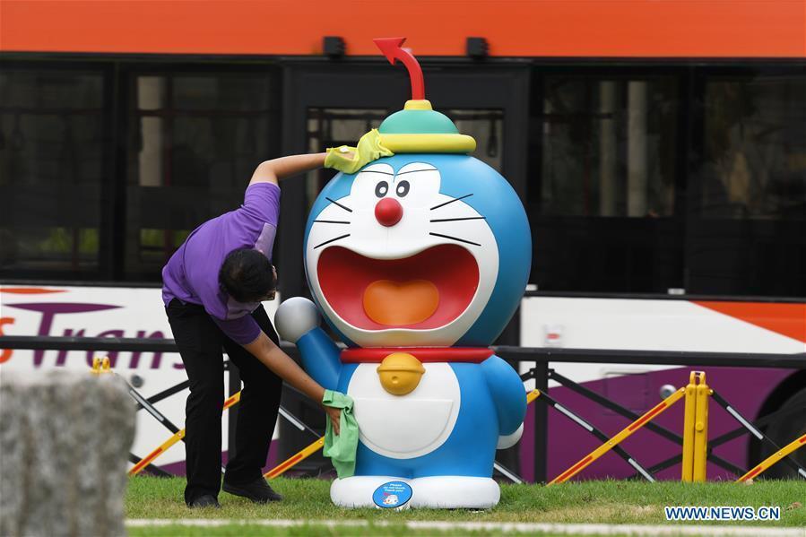 "People visit ""Doraemon's Time-Travelling Adventures in Singapore"" exhibition"