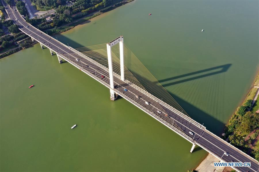 Aerial view of Yongjiang River in Nanning, Guangxi
