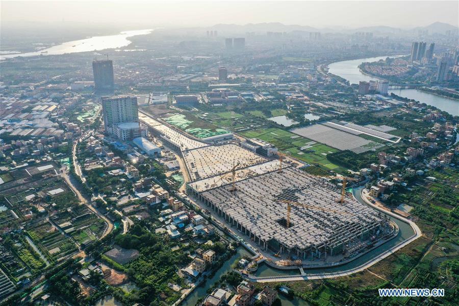 Longzhen train depot of Guangzhou Metro Line 18 under construction