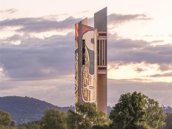 Australia's National Carillon illuminated with indigenous artworks, designs