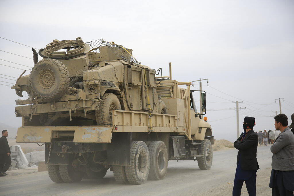 Suicide car bomb in Afghan capital kills 3 troops, wounds 4