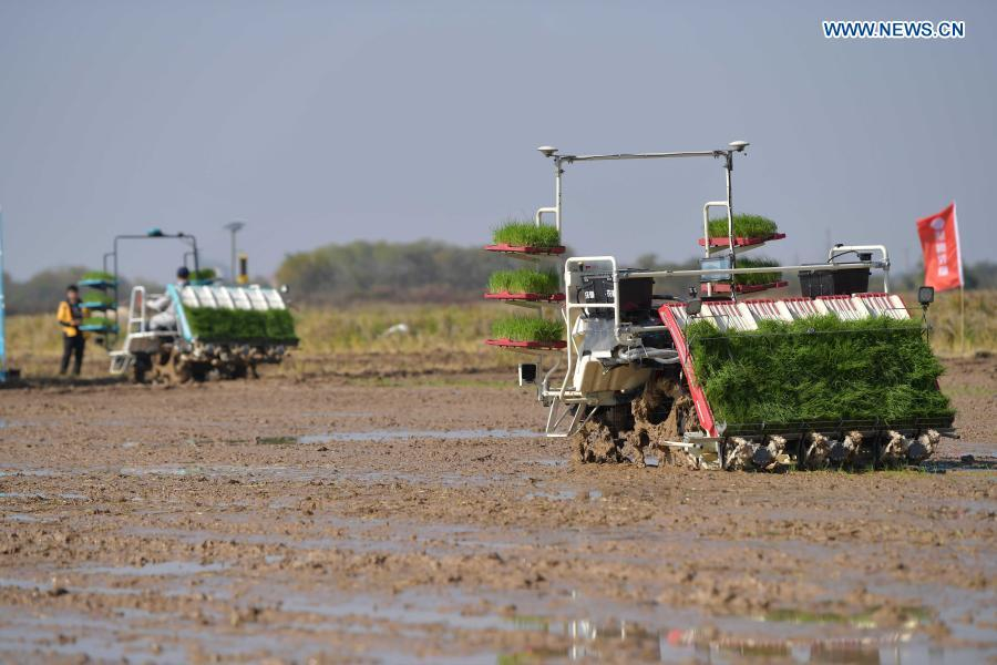 Farming devices displayed at intelligent farm in China's Jiangxi