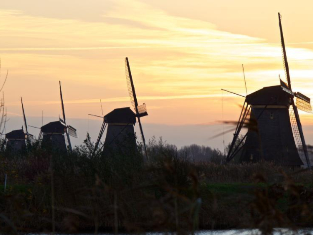 Early morning view of windmills in Kinderdijk