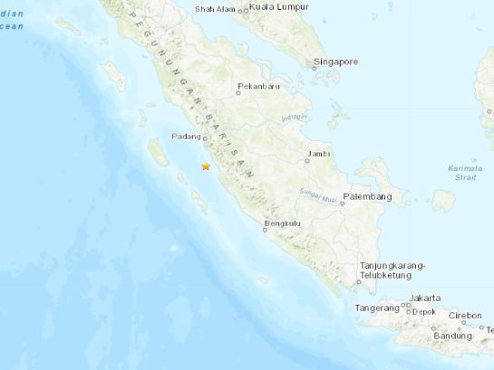 5.3-magnitude quake hits 95 km S of Padang, Indonesia -- USGS