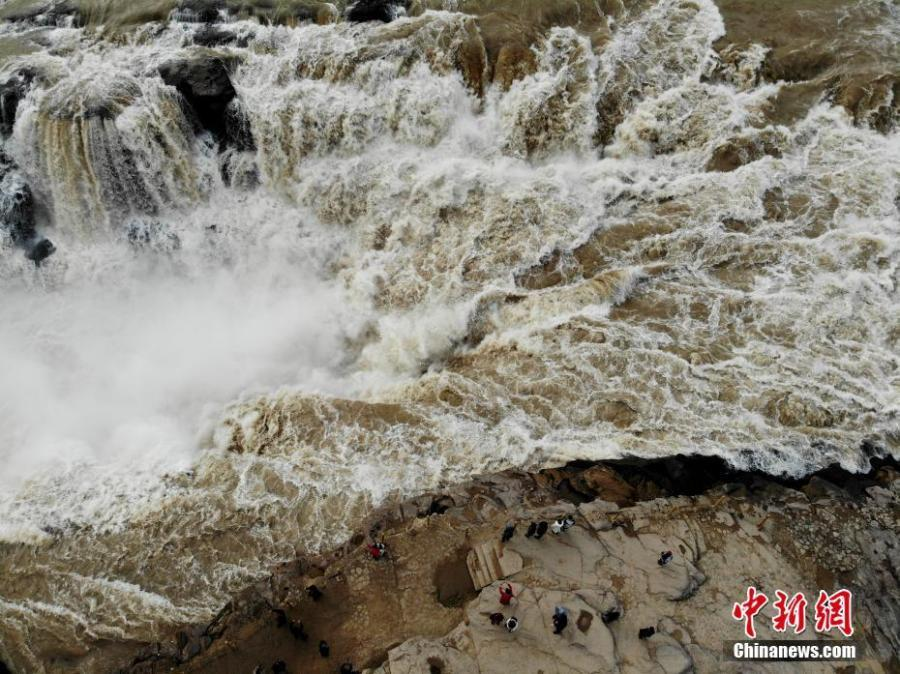 Spectacular winter scenery of Hukou Waterfall in Shanxi
