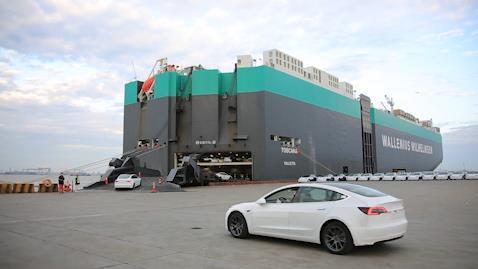 First batch of China-made Tesla sedans arrives at Belgium's Zeebrugge port