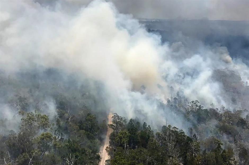 Australia bush fire rips through heritage-listed island