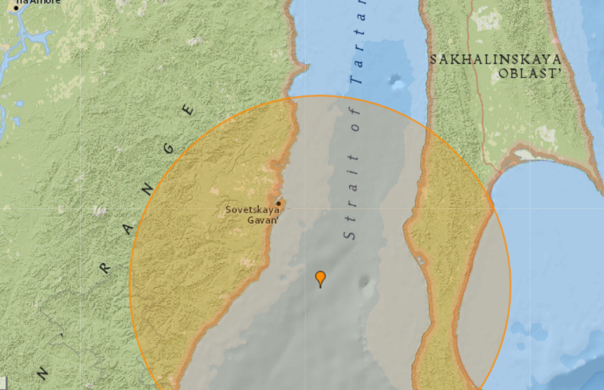 6.4-magnitude quake hits 88 km SSE of Sovetskaya Gavan', Russia: US