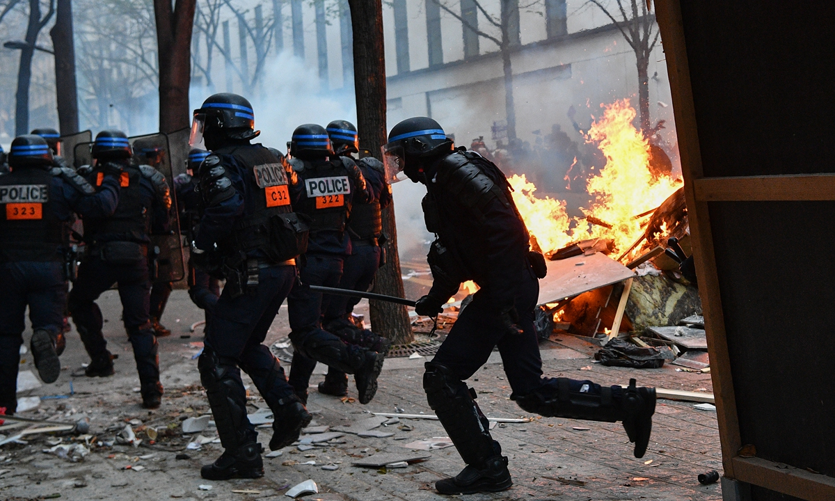 Violence erupts against France's new security law