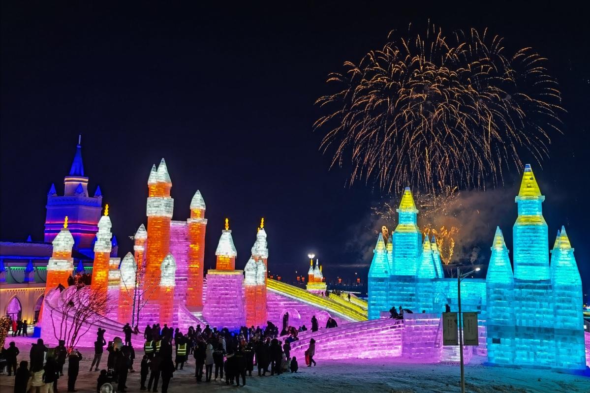 Ice-snow theme park opens to public in Changchun, NE China