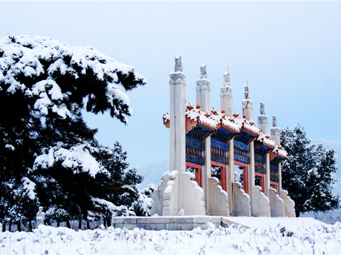 Imperial tombs covered in snow