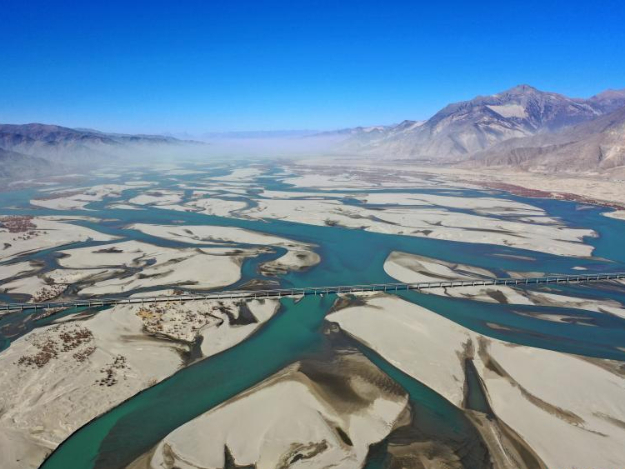 View over Yarlung Zangbo River in Tibet