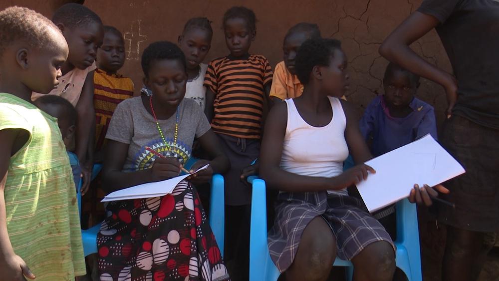 With schools closed, mobile classrooms open for kids at Uganda's Bidi Bidi camp