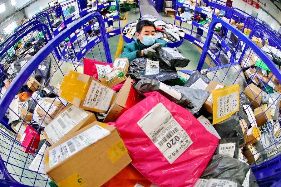 80 billion parcels handled by Chinese couriers
