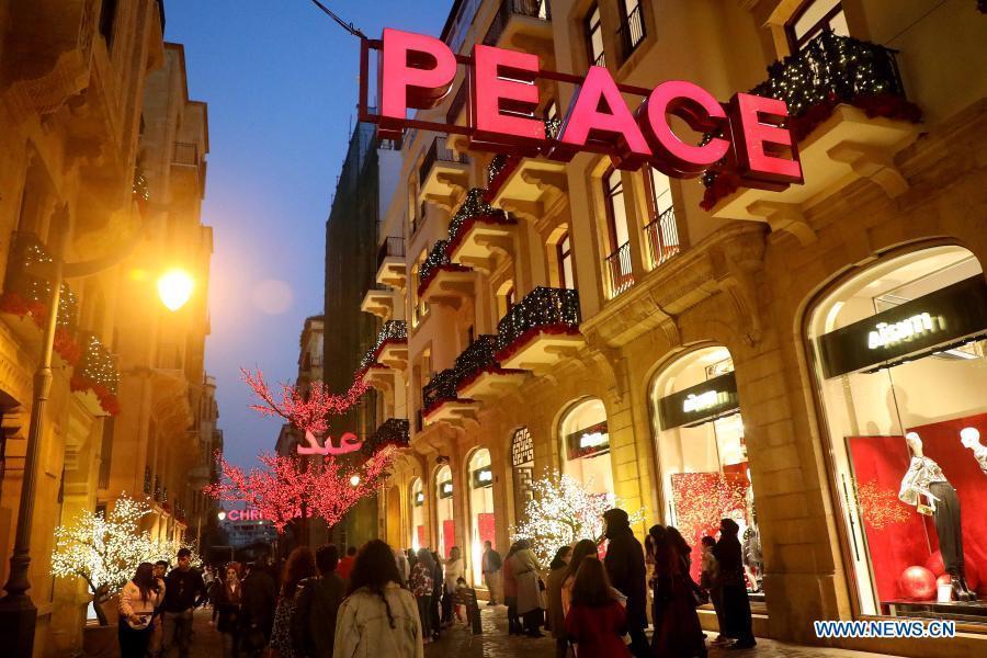 People enjoy their time during holidays in Beirut, Lebanon