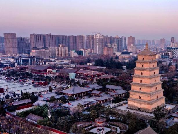 Sunset scenery of Dayan Pagoda in Xi'an