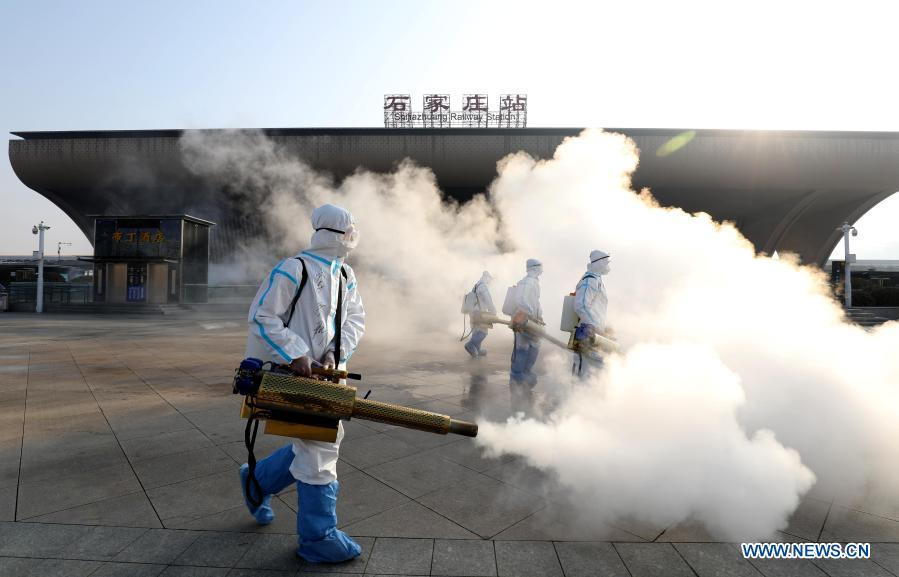 Disinfection work conducted at key public areas in Shijiazhuang
