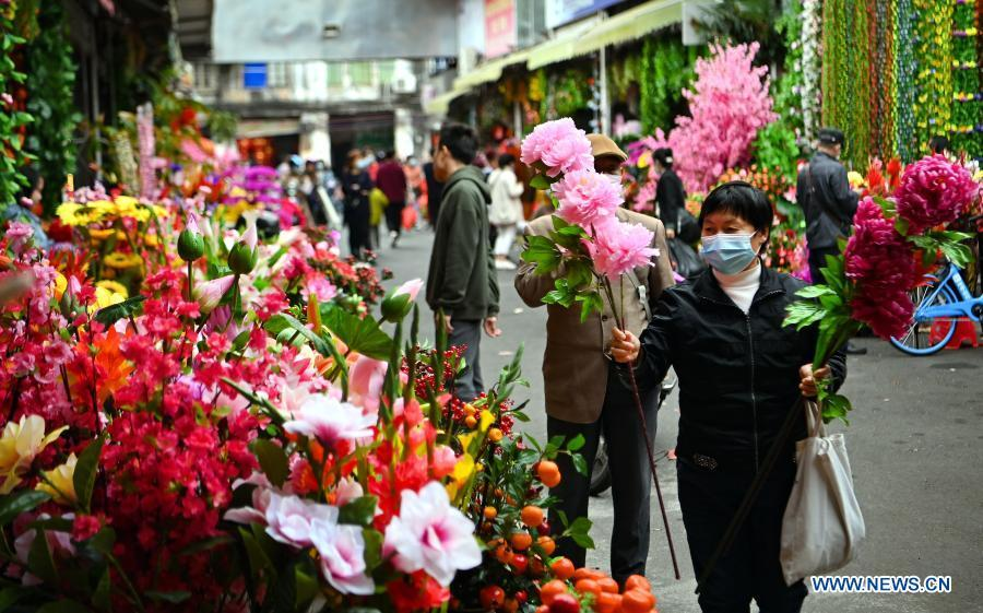 People buy new year decorations at market in Haikou, S China