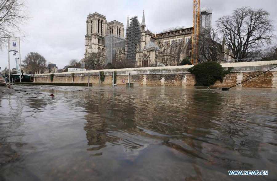 Flooded banks of Seine River seen in Paris
