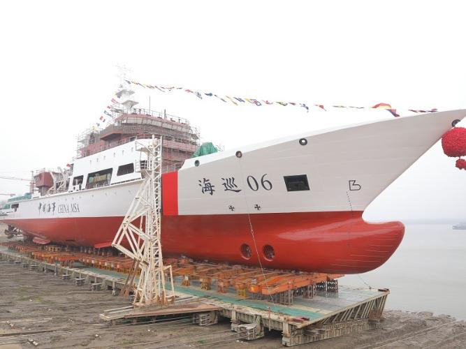 Ocean patrol ship launched from Wuhan shipyard