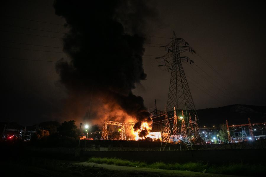 Extensive power cuts in Greece after fire at power station
