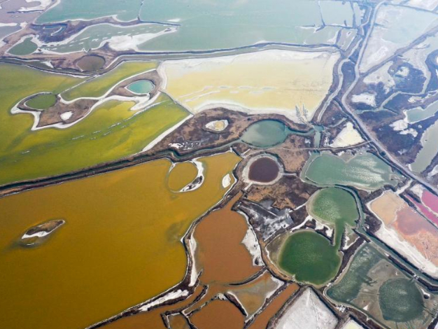 Aerial view of salt lake in Yuncheng City, Shanxi