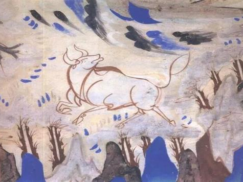 Ancient oxen in the mysterious Dunhuang cave murals