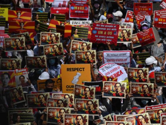 Myanmar protesters block roads, stage biggest rallies