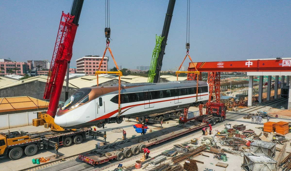 Fast underground train in Guangzhou carried to metro station