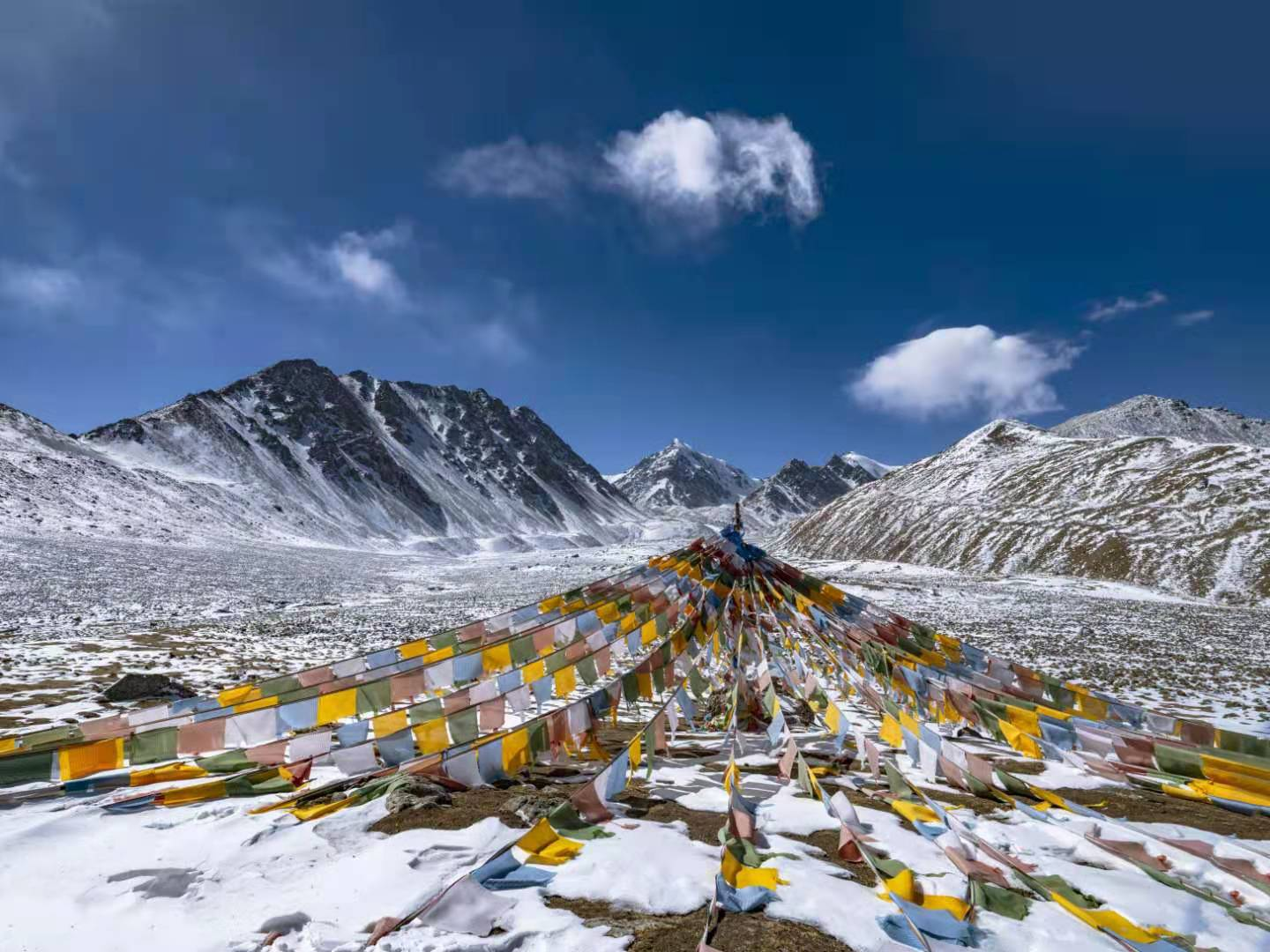 View of the sacred Bars Snow Mountain in Northwest China's Gansu