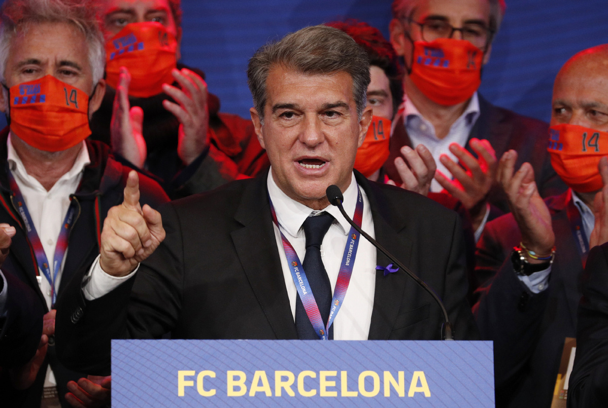 Barcelona elect Laporta as president for second time