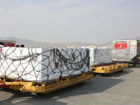 COVID-19 vaccines from COVAX transported at Afghan airport