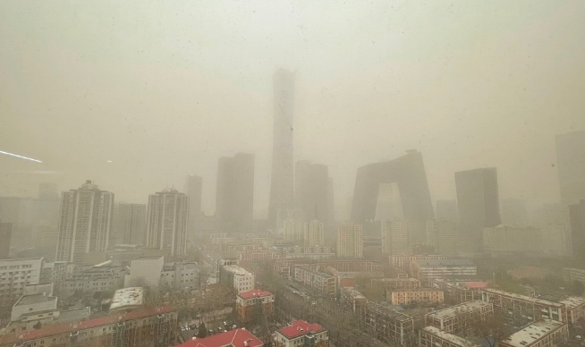 Yellow sky in Beijing as sandstorm from Mongolia hits China's capital