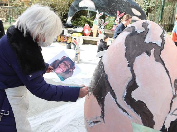 People paint huge Easter eggs at Zagreb Zoo in Croatia
