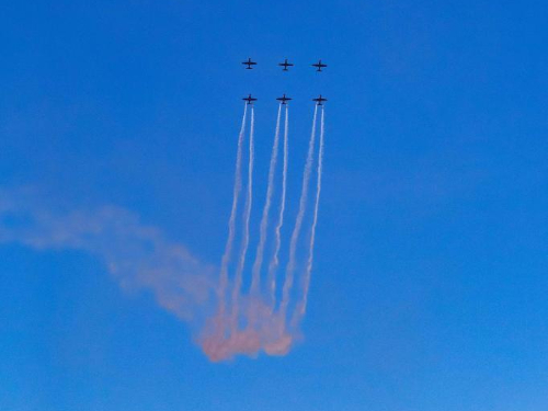 Royal Australian Air Force Roulettes aerobatic team perform in Canberra