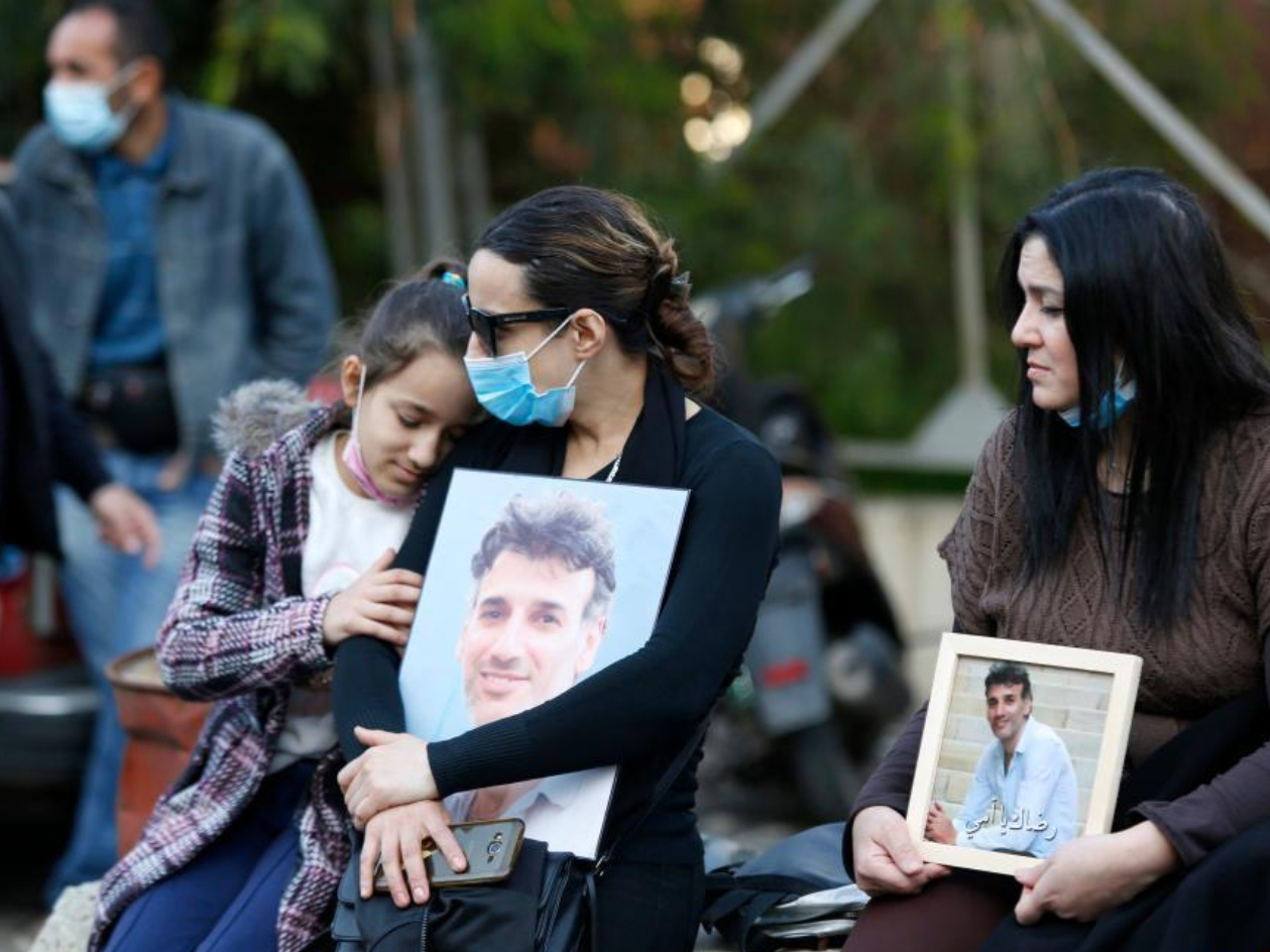 Family members of victims of Beirut port explosion stage sit-in